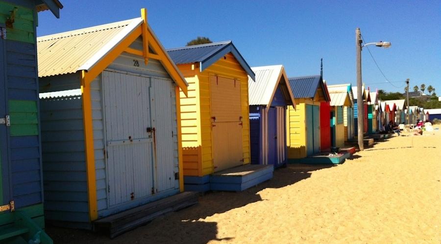 Colourful Houses on Brighton Beach in Australia