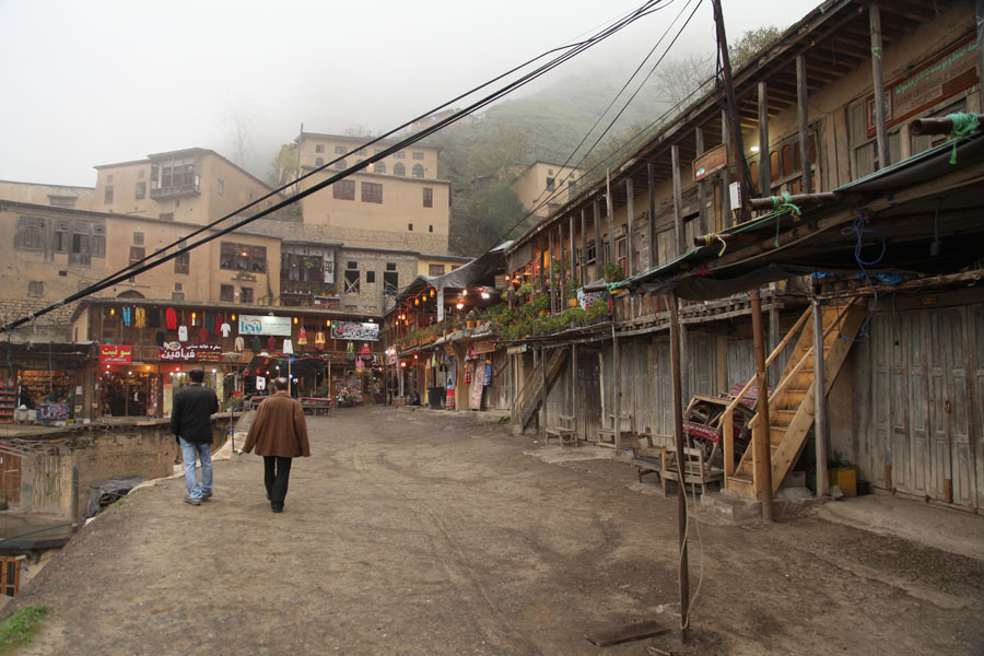 People walking around the village across rooftops. Very unique..