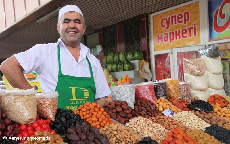 Market seller in Almaty, Kazakhstan - People we meet travelling