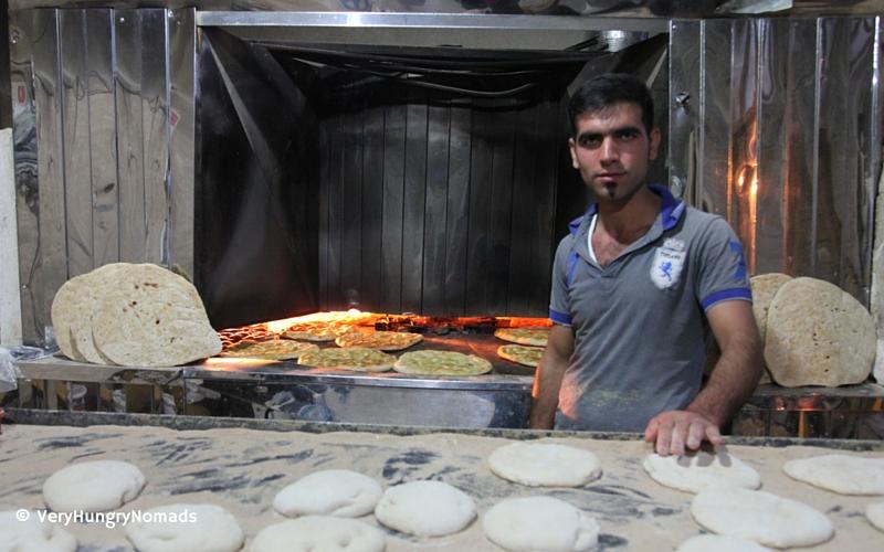 Local bread maker in Masuleh village - People we meet travelling