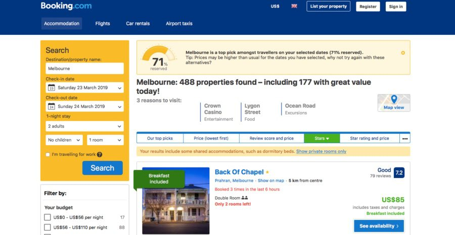 best accommodation booking website