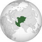 Central Asia on globe