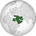 Middle East on globe